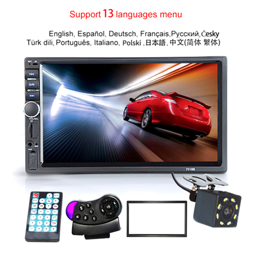 "Autoradio 2 Din Hd 7 ""Touch Screen Stereo Bluetooth Fm Iso Power Aux Input MP5 Speler Sd Usb met/Zonder Camera 12V"