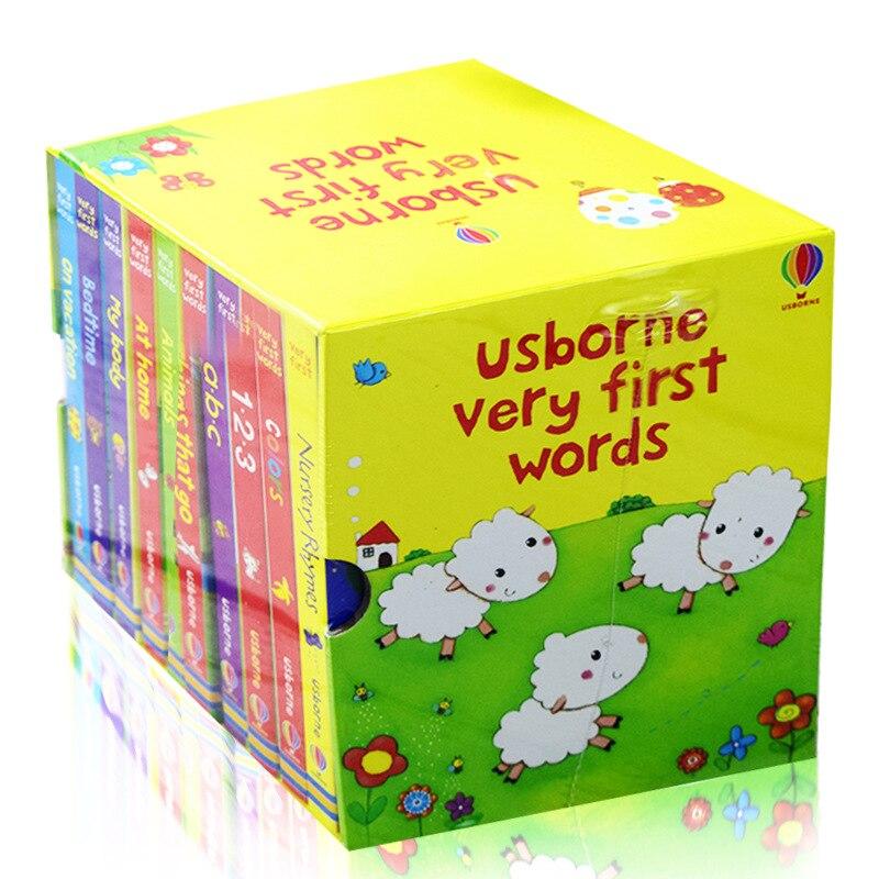 10 livres/ensemble USborne très premiers mots livre de bord jouets éducatifs pour enfants livres anglais pour enfants livres bébé anglais