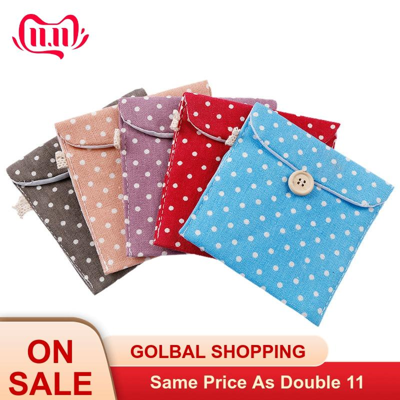 Women Girl Cotton Small Cosmetic Bags Dot Napkins Organizer Sanitary Napkins Pads Carrying Easy Bag Pouch Case Bag