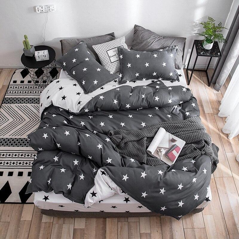 2019 Autumn Grey Star Bedding Set Pastoral Style Duvet Cover Set Flat Sheet Fish Bed Linen Leopard Bed Set AB Side Home Textile
