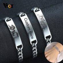 Vnox kişiselleştirilmiş kadınlar erkekler için bilezikler solmaya asla paslanmaz çelik bağlantı zinciri bilezik özel aile BFF doğum günü hediyesi