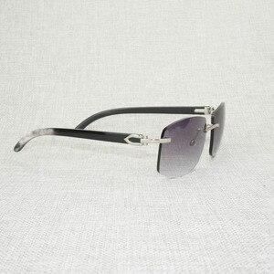 Image 4 - רטרו עץ Oversize משקפי שמש גברים טבעי שחור לבן באפלו הורן משקפי נטולי מסגרת עבור חיצוני קיץ Oculos Gafas