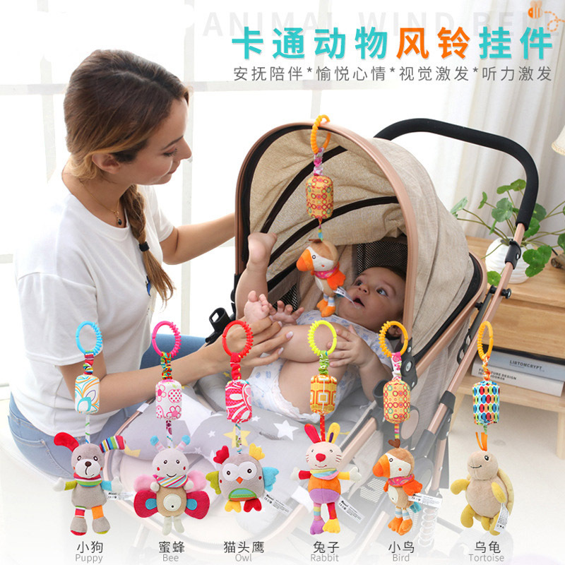 Stroller Pendant Toy Wind Chime Crib Hanger Toy Fabric Bedside Rattle Hanging Bell Newborn Baby Bed Bell