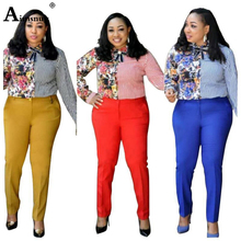 Aimsnug Women African Clothing Mujer 2 Piece Set Long Sleeve Striped Print Shirt Top And Pants Office Ladies Two Outfits