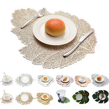Dining Table Placemat Lotus Leaf Leaf Pattern Kitchen Plant Coffee Table Mats Cup Coasters Plate Coasters for kitchen Home Decor placemat dining table coasters simulation leaf plant pvc cup western food insulation pad table mats kitchen christmas home decor