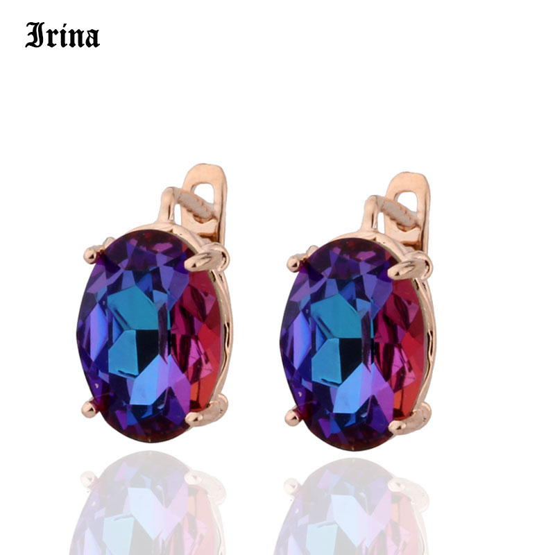 8 Color 585 Rose Gold Color Egg Shape Jewelry Colorful Earings High-quality Glass Stud Earrings for women Costume jewelery Gift 1