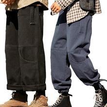 Мужчины брюки японский повседневный мода мужские мягкие талия щиколотка галстук шнурок свободные карманы брюки брюки мужские джоггеры брюки