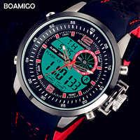 Relojes de diseño de lujo BOAMIGO para hombre relojes deportivos rojos relojes de cuarzo reloj Digital relojes de pulsera reloj de cuarzo masculino