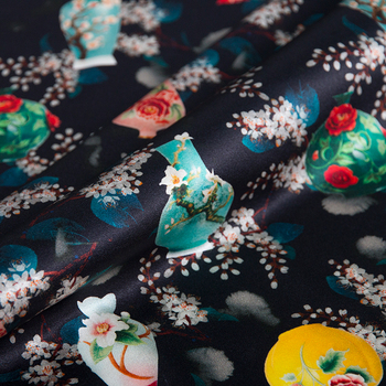 Black Blue White Gao Ding mulberry silk printing silk fabric elastic satin silk fabric