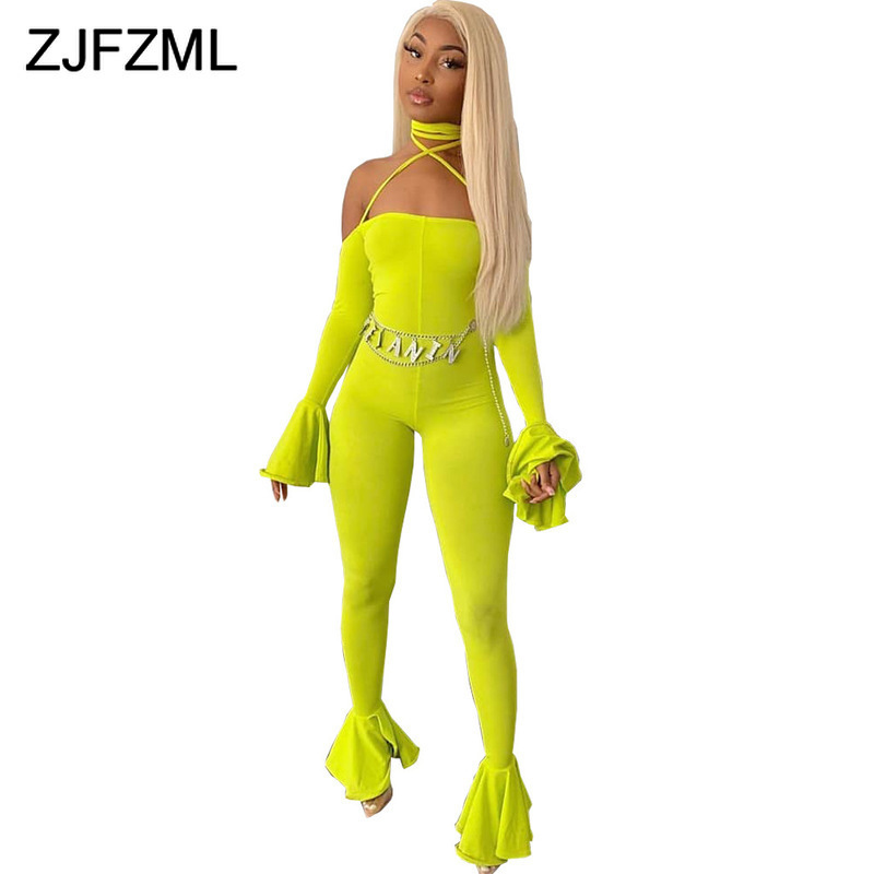 Sexy Club Backless Neon Rompers Womens Jumpsuit Halter Long Flare Sleeve Bodycon Overalls Slash Neck Ruffles Flare Bodysuits