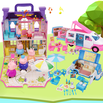 Peppa Pig Toys Set George Family Daddy Maddy Convertible Car Picnic Play House Dolls for Children Birthday Gifts