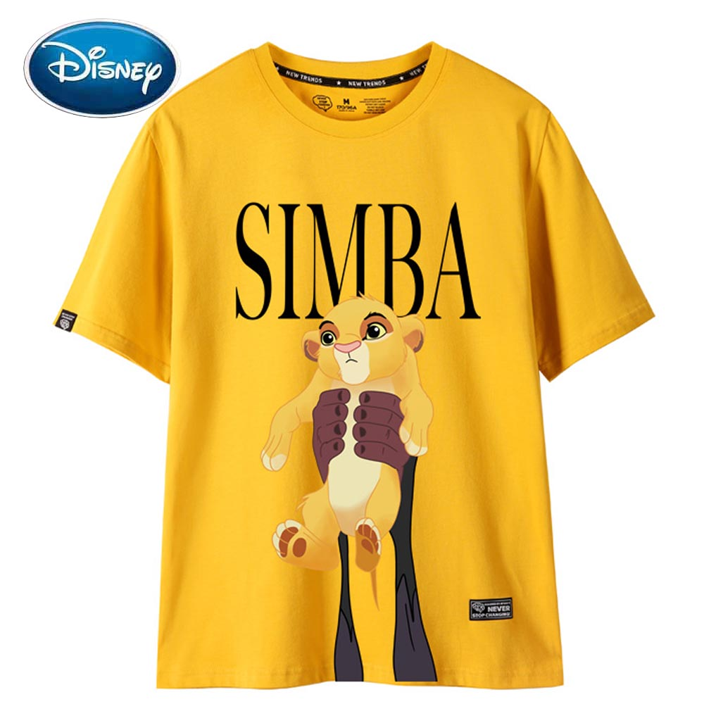 Disney T-Shirt The Lion King King Of The Jungle SIMBA Letter Cartoon Chic Fashion Unisex Women Short Sleeve Tee Top 6 Colors