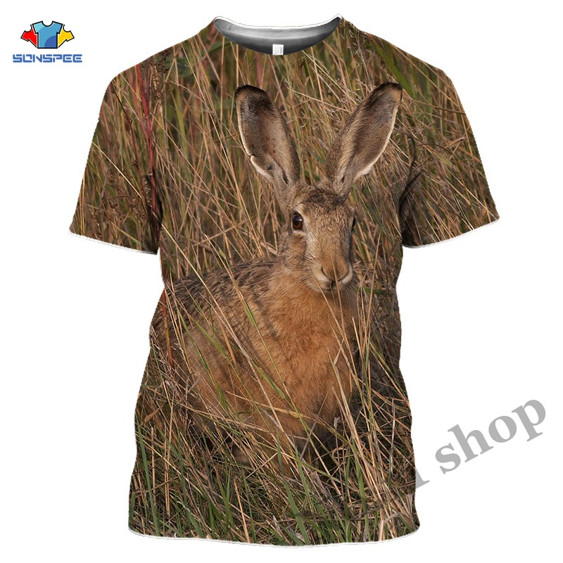 Hot Sales Hunting Crazy Hare Tshirt Oversized T Shirt For Mens Gym T-Shirts For Mens 3D Print Animal Lovely Rabbit Short Sleeve