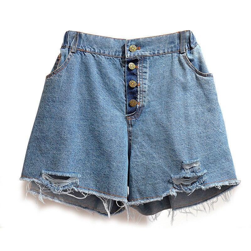 Plus Size Short Jeans For Women 4xl 5xl 6xl 2020 Summer New Casual Blue Loose Women's Clothing Denim Shorts Hole Wide Leg Pants