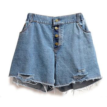 Plus Size Short Jeans for Women 4xl 5xl 6xl 2020 Summer New Casual Blue Loose Women's Clothing Denim Shorts Hole Wide Leg Pants pinkwin blue 6xl
