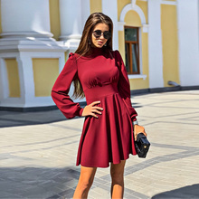 Women Vintage stand collar A-line Party Mini Dress Long Slee