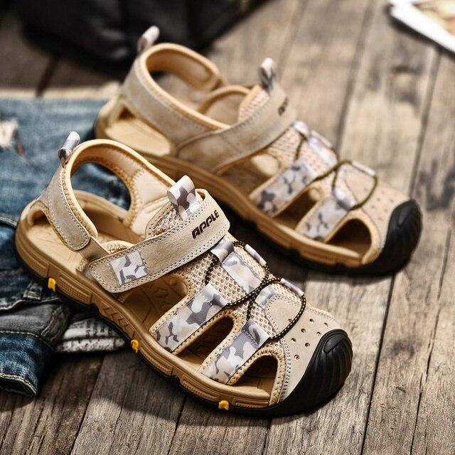 Купить apple 2020 высококачественные кожаные мягкие мужские сандалии картинки цена