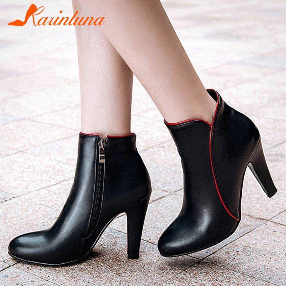 Karinluna 2020 en kaliteli büyük boy 48 zarif 10cm yüksek topuklu ofis ayakkabı kadın botları kadın ayakkabısı bayan yarım çizmeler kadın