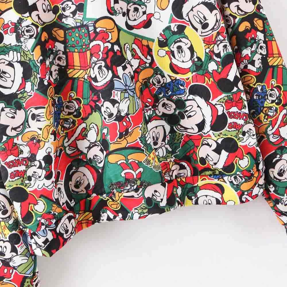Disney estampa de desenhos animados, mickey mouse, feliz natal, letras impressas, camiseta feminina, gola redonda, manga longa, casual, solta, camiseta