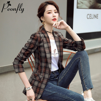 PEONFLY Vintage Casual Plaid Blazer Women Fashion Single Button Office Ladies Jacket Notched Collar Long Sleeve Coat  Plus Size 1