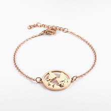 Charm Bracelets Bangle Woman Accessories Stainless Steel Jewelry Fashion Round Chain Link Adjustable Travel World Map Bracelet цена и фото