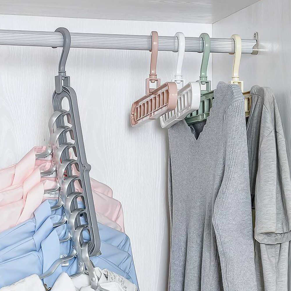 1/3/5/7pcs Creative 3D Space Saving Hanger Magic Clothes Hanger 9Hole Towel Hook Closet Organizer Storage Rack Color Random