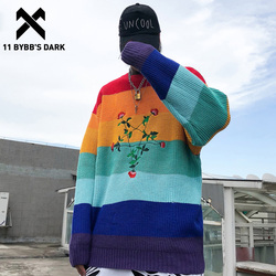 11 BYBB'S DARK Patchwork Pentagram Bestickt Strickwaren Pullover Männer 2019 Harajuku Streetwear Farbe Uhr Herbst Casual Pullover