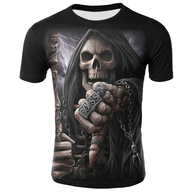 Summer New Funny Skull T Shirt Men Hip Hop O-Neck Short Sleeve Tees Casual Tops Cool Skull T-shirt Halloween Clothing