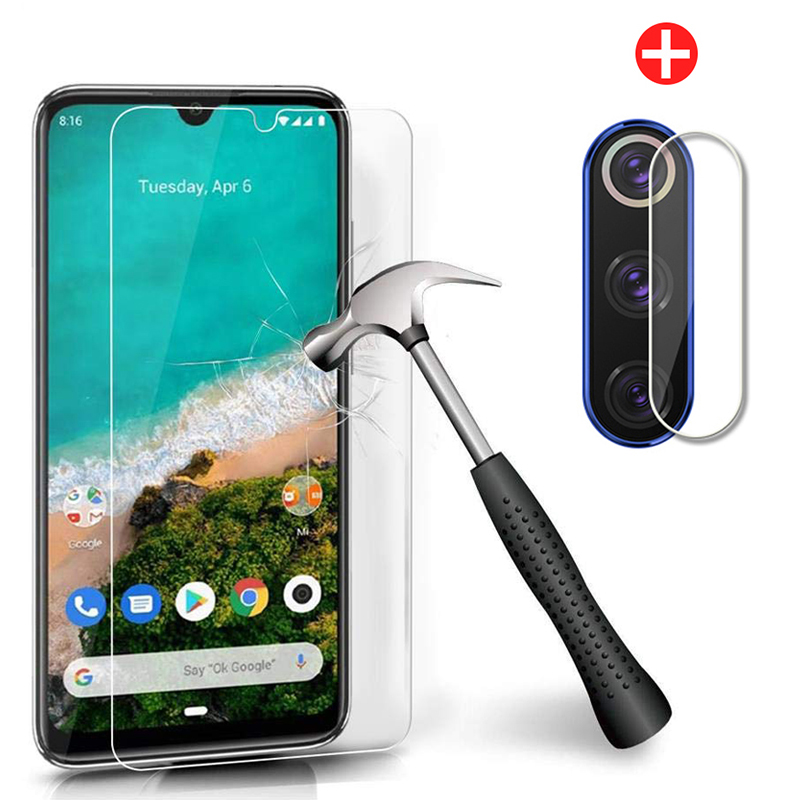 2 In 1 Tempered Glass For Xiaomi Mi A3 Screen Protector Protective Glas On The For Xiaomi Mi A3 Camera Lens Film Xiaomia3 MiA 3