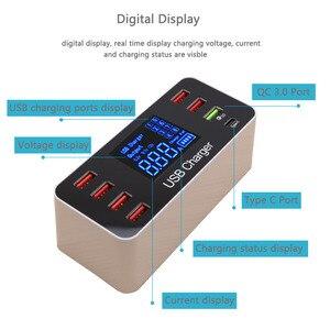 Image 3 - 40W מהיר רב יציאת USB מטען רכזת תשלום 3.0 סוג C USB טעינת תחנת שולחן העבודה מטען מהיר Led תצוגה 8 יציאות Multiport