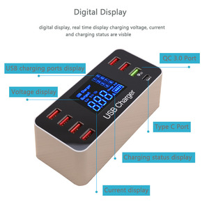 Image 3 - 8 Ports USB Charger Hub Quick Charge 3.0 Type C USB Charging Station Desktop 40W Charger Fast Led Display Universal Vary Devices