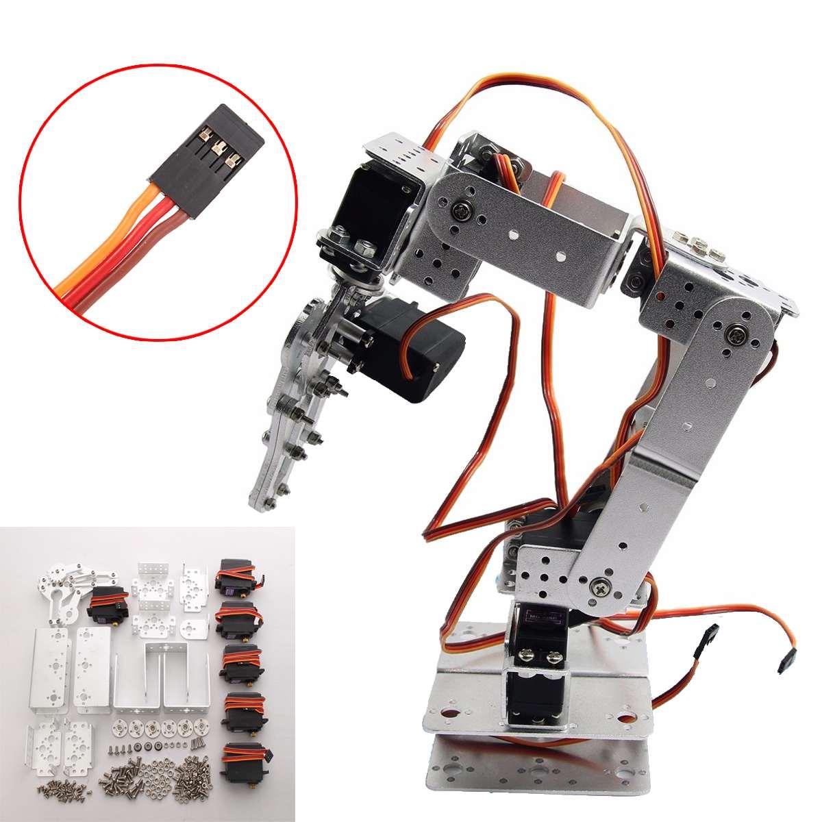 Aluminium Robot 6 DOF Arm Mechanical Robotic Arm Clamp Claw Mount Kit W/Servos Servo Horn For Arduino-Silver Action Toy Figure