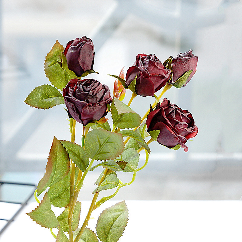 Small British Retro Rose Branch Withered-looking Artificial Flowers For Home Living Room Table Decor Photography Props