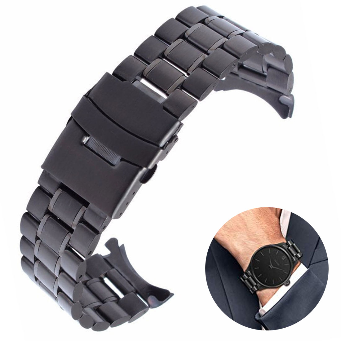 Men Watch Band Strap Stainless Stell Deployment Clasp Speed Master Wrist Women Band 18mm 20mm 22mm 24mm