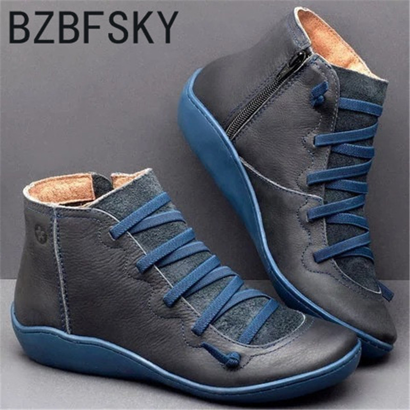 Women Winter Snow Boots PU Leather Ankle Spring Flat Shoes Woman Short Brown Botas with Fur for Women Lace Up Botas Mujer