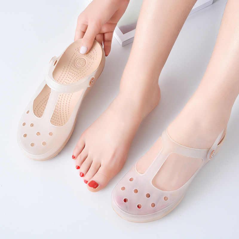 Сандалии-желе женские на платформе, прозрачные кроссовки, туфли-лодочки, повседневная обувь для медсестер, для девушек, лето otali.ru