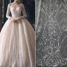 Sequin fabric for wedding  Sequin Embroidery New Wedding Dress Lace Fabric Cloth Costume Stage Decoration Materials diamond