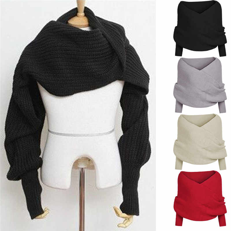 New Women Off the Shoulder Crop Knit Sweater Women Winter Warm Shawl Sweater Tops Cardigan Wool Scarf With Sleeve Wrap Scarves