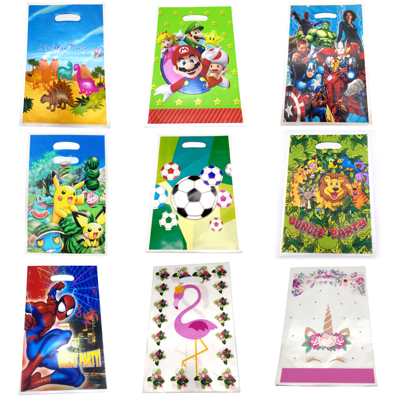 20pcs/lot Mario/Avengers/Dinosaur/Pokemon/Football/Unicorn Theme Baby Shower Plastic Loot Bags Birthday Party Decora Gifts Bags