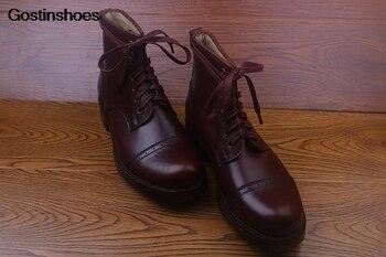 Erkek Ayakkabi hecho a mano personalizado grabado Julián RRL Beckham aceite piel trabajador zapatos de cuero de ganado hombres puntiagudos tobillo con cordones