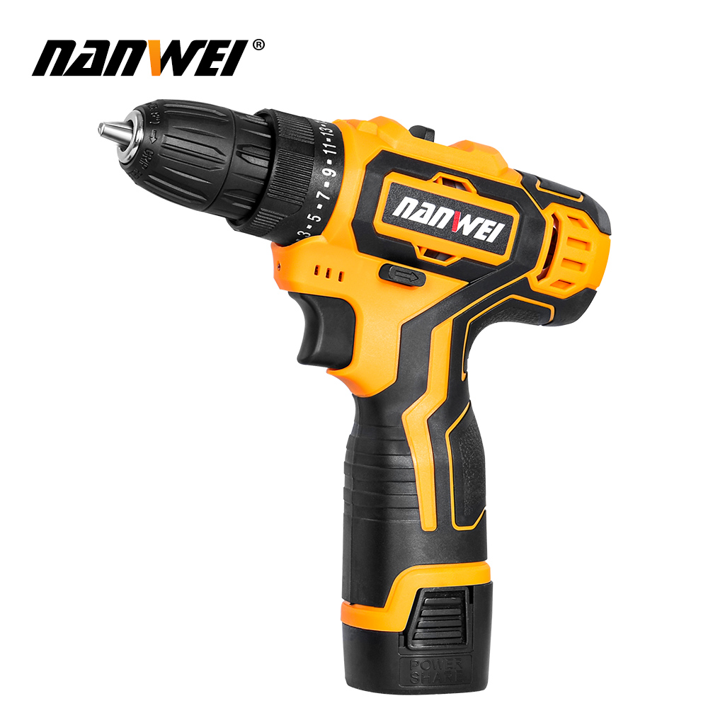 NANWEI 12V 18V Cordless Drill Electric Screwdriver Mini Wireless Power Driver DC Lithium-Ion Battery 3/8-In image