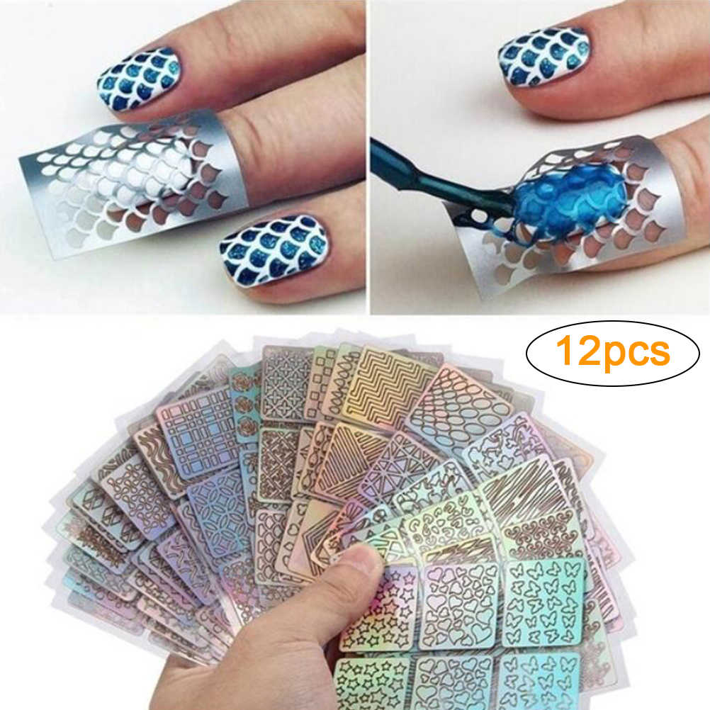 12Pcs Hollow Nail Sticker Stijlvolle Zelfklevende Manicure Sticker Nail Art Accessoire