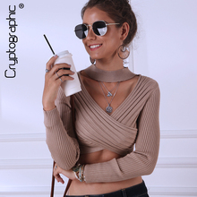 Cryptographic Casual Long Sleeve Solid Sweater Woman Winter 2019 Criss Cross V Neck Crop Tops Halter Pullovers Fashion Sweaters