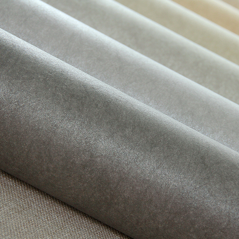 Living Room Modern Minimalist High Grade Gray Northern European-Style INS Wallpaper Solid Color Plain Color Gray Long Fiber Silk