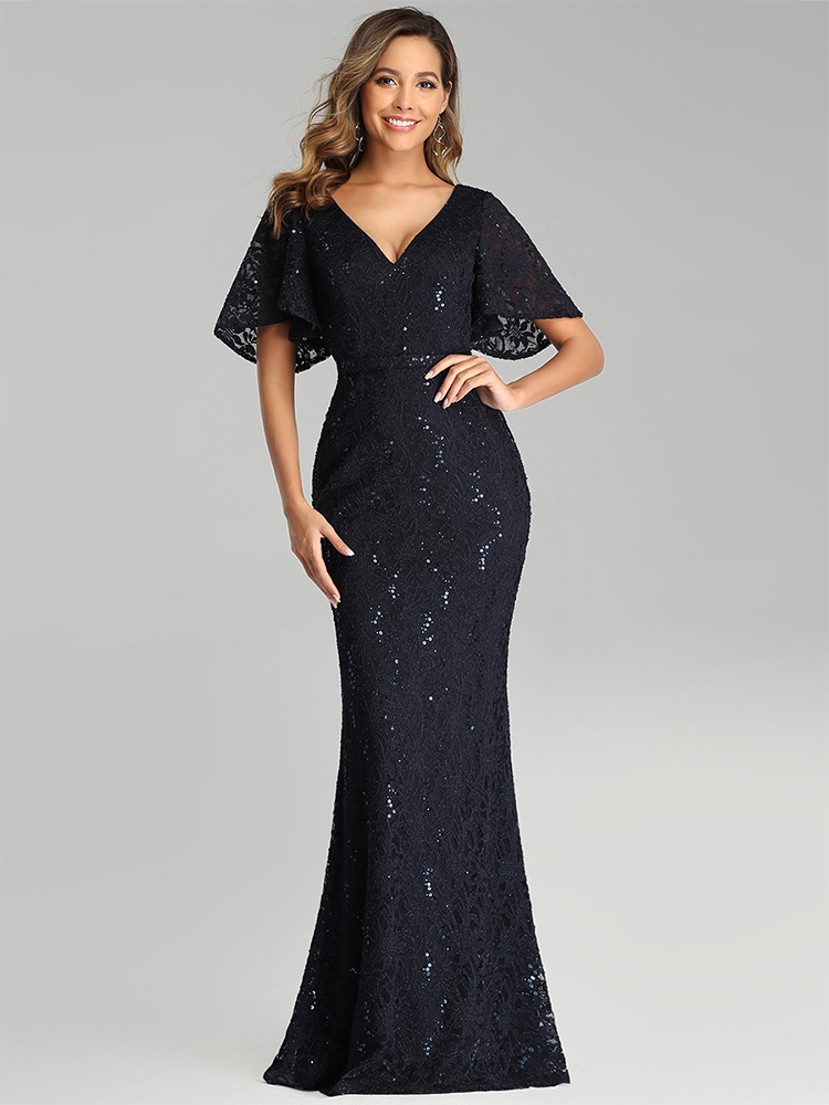 Prom-Dresses Party-Gowns Ever Pretty Vestidos-De-Gala Mermaid Short-Sleeve Sparkle Sequined