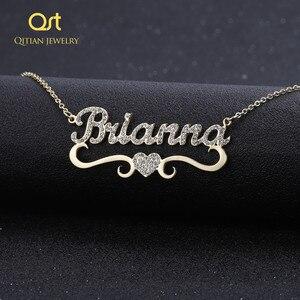 Image 1 - Ожерелье с персонализированным именем и подвеской в форме сердца для женщин, украшения с блестками, сверкающий чокер с инициалом, ожерелье на заказ, рождественский подарок