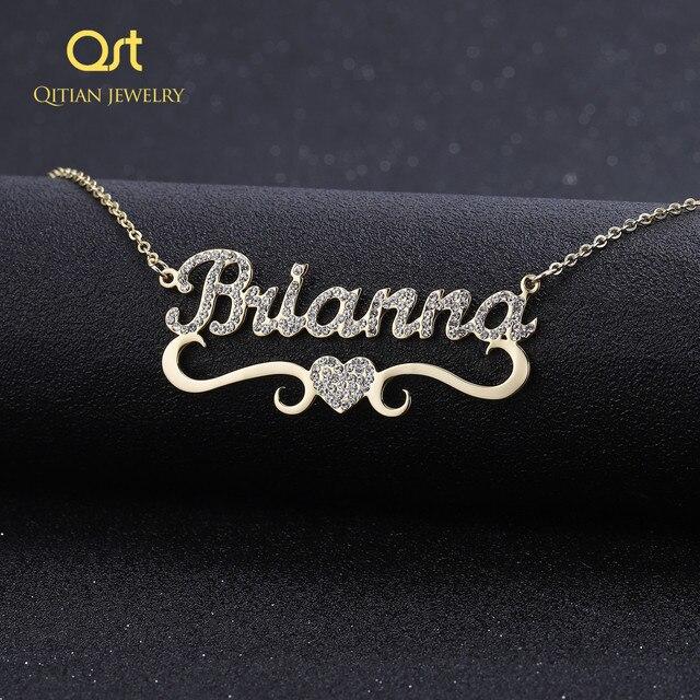 Ожерелье с персонализированным именем и подвеской в форме сердца для женщин, украшения с блестками, сверкающий чокер с инициалом, ожерелье на заказ, рождественский подарок