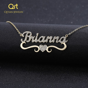 Image 1 - Heart With Personalized Name Necklace&Pendant For Women BlingBling Jewelry Iced Out Initial Choker Custom Necklace Christmas Gif