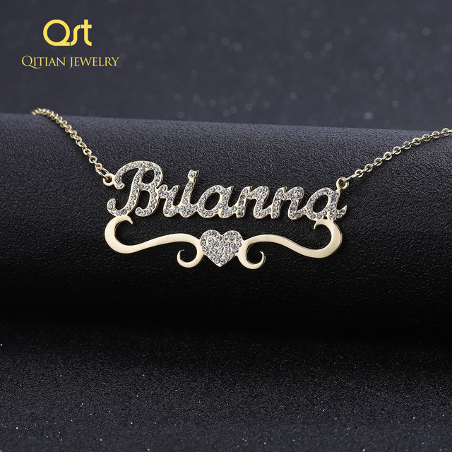 Heart With Personalized Name Necklace&Pendant For Women BlingBling Jewelry Iced Out Initial Choker Custom Necklace Christmas Gif