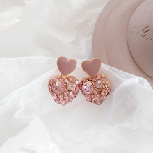 Pink Cubic Zircon Hearts Clip Earrings for Women Comfort Sweet Shiny Love Charm Earrings